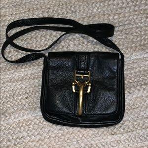 Bryna Nicole Black Leather Brass Crossbody Bag